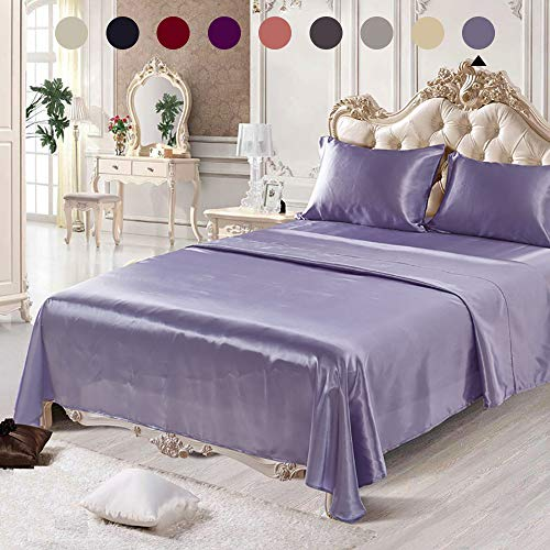 Chanyuan 4 Pieces Lavender Satin Silky Sheets Set Queen Size Luxurious Smooth Silky Bedding Collection Soft Microfiber, 16' Deep Pocket Fitted Sheet,Cool Flat Sheet,2 Satin Pillowcases (Purple,Queen)