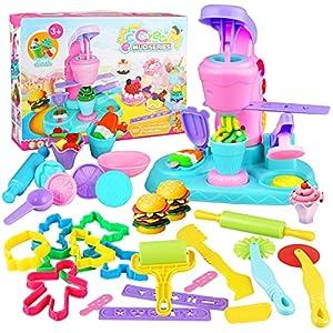 Yojoloin Herramientas Plastilina, 30 Piezas Moldes Plastilina, Plastilina Accesorios Cortadores Máquina de Helado de Bricolaje Juguete de Arcilla para Niños