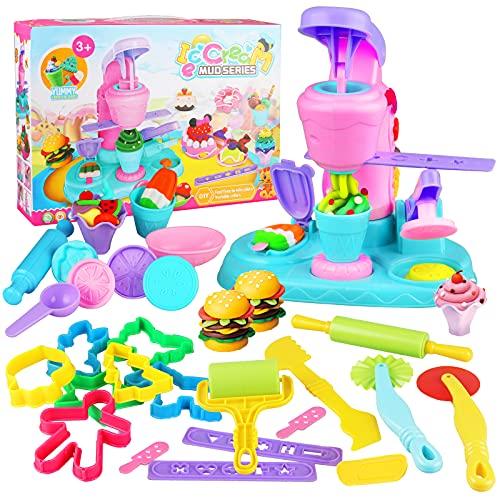Yojoloin Utensili Plastilina per Bambini,30 Pezzi Accessori e Strumenti per L'Impasto Taglierine per Bambini, Colorati Macchina per Gelato Fai-da-Te Strumento per Stampi in Argilla