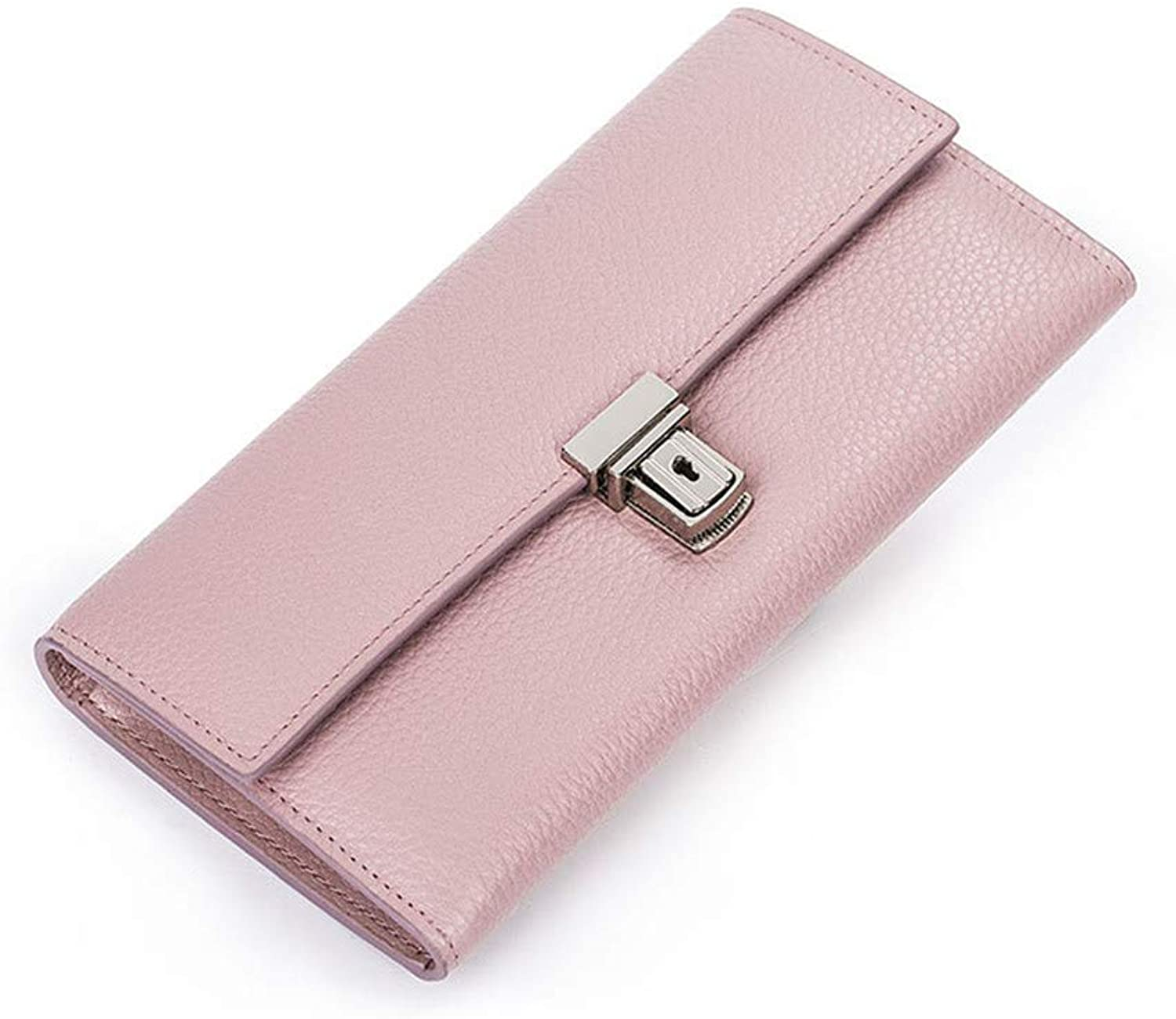 Leather Multicolor Optional Women's Elegant Purse Hand Bag Contracted Metal Button is Dinner Bag Business Gifts Women's Wallet with Many Card Slots Gifts for Women and Girls (color   Pink)