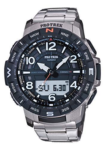 Casio Pro Trek PRT-B50T-7ER - Reloj de Acero para Hombre con Bluetooth, Brújula, Barómetro, Termómetro y Altímetro.