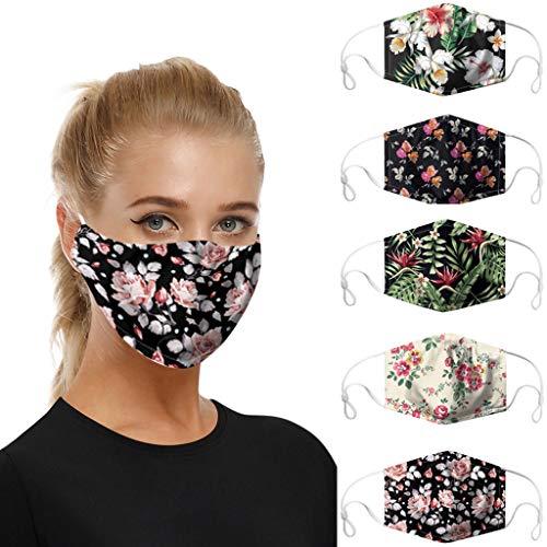 riou 5 Stücke Mund und Nasenschutz mit Motiv Waschbar Baumwolle Atmungsaktive Staubdicht Multifunktionstuch Face Covering für Damen Herren