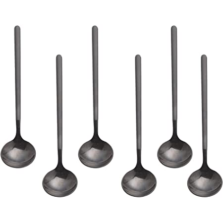 findTop Mini Teaspoons Set for Coffee Sugar Dessert Cake Ice Cream Soup Antipasto Cappuccino Pack of 8 5.3 Inch Black Stainless Steel Espresso Spoons