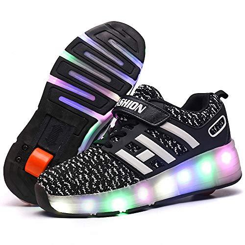 Zapatillas con Ruedas Led Luz Automática de Skate Zapatillas zapatos con ruedas para niños Automática Calzado de Skateboarding Automática Ruedas Ajustables Con carga USB para Niños Niñas,Negro,29