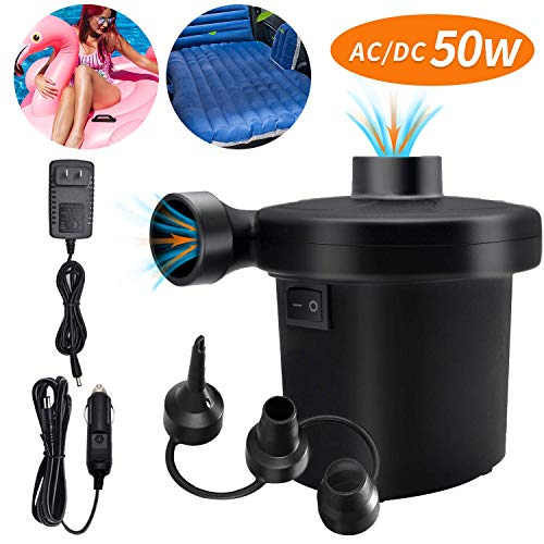 Electric Air Pump for Inflatables, Portable Quick Air Pump for Air Mattress, 110V AC/12V DC, Inflator/Deflator Pumps for Outdoor Camping, Inflatable Cushions, Air Beds, Boats, Swimming Ring 50W