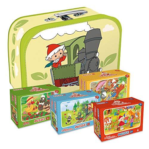 Trötsch Unser Sandmännchen Geschenkset vier Puzzles im Koffer Kinderkoffer Sandmann Puzzle