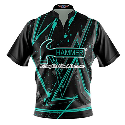 Logo Infusion Bowling Dye-Sublimated Jersey (Sash Collar) - Hammer Style 0507 - Sizes S-3XL (XL) Green Black