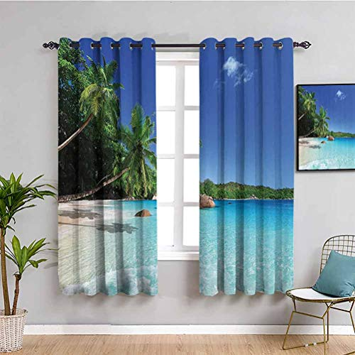 Ocean Decor Light Blocking Curtains for Living Room Tropic Palm Trees Heaven Beach Colorful Picture Daily use W55 x L63 Inch Ivory Blue Green Turquoise