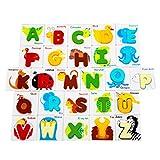 STOBOK 52Pcs Carte Alfabeto Animali in Legno 26 Lettere Blocchi Parole Apprendimento Gioca...