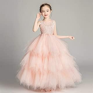 Luxury Pompon Yarn Princess Dress Girls Flower Girl Wedding Dress Catwalk Wedding Dress Small Children Moderator Piano Performance Clothing Children Skirt Cake ryq (Color : Pink c, Size : 90cm)