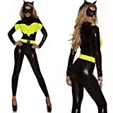 Future-YX Sexy Catwoman Kostüm Cat Woman Superheld Kostüm Damen Catwoman Kostüm Katze Cosplay Jumpsuit für Fasching Halloween Karneval