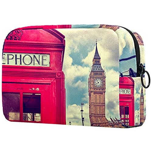 Bolsa de Maquillaje compacta Bolsas de cosméticos de Viaje portátiles para Mujeres niñas Neceser,Cabina telefónica Estilo Londres