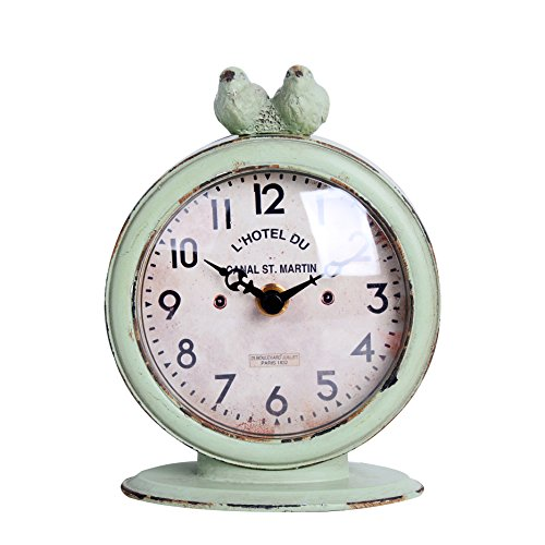 """NIKKY HOME Shabby Chic Pewter Round Quartz Table Clock with 2 Birds, 4.75"""" x 2.5"""" x 6.12"""", Light Green"""