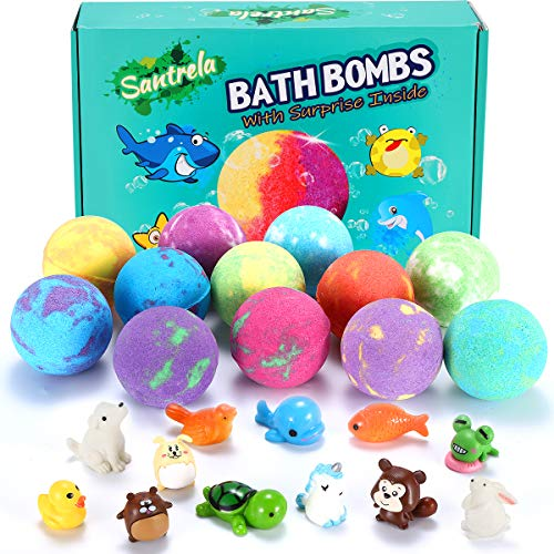 Bath Bombs for Kids with Toys Inside for Girls Boys - Surprise Toy 12 Pcs Gift Set Handmade Bubble Bath Fizzies Spa Fizz Balls Kit for Christmas Birthday Easter Eggs Stuffers