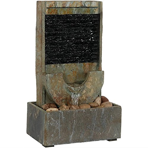 Sunnydaze 16-Inch Half Moon Slate Indoor Tabletop Cascading Water Fountain - Soothing and Tranquil Water Sound - Contemporary Stone Decorative Water Feature for Desktop and Table