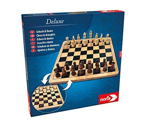 Noris 606104577 Deluxe Schach & Dame, Der Spiele Klassiker in hochwertiger Holzausführung mit Holz Figuren und Brett, ab 6 Jahren