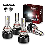 TURBO SII Extremely Bright 9005/HB3 High Beam 9006/HB4 Low Beam Combo LED Headlight Bulbs Conversion Kit, DOT Approved D6 Series CSP Chips Fog Light,12000LM 6000K Cool White (4Pack,2 sets,Black)