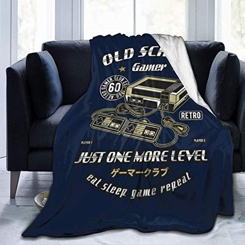 haoqianyanbaihuodian Old School Gamer Club - Manta de franela de forro polar, ligera, ultrasuave, cálida, apta para sofá