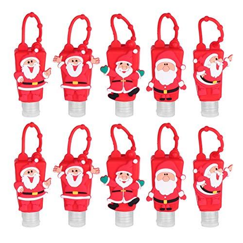 Cabilock 5 Stks Kids Hand Sanitizer Fles Cartoon Santa Lege Hervulbare Vloeibare Zeep Case Houder Hand Lotion Cleaner Dispenser voor Reizen Sleutelhanger Tas Hanger Willekeurig Patroon 30ml