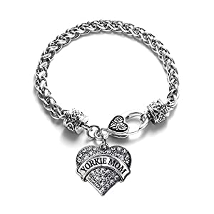 Inspired Silver - Yorkie Mom Braided Bracelet for Women - Silver Pave Heart Charm Bracelet with Cubic Zirconia Jewelry