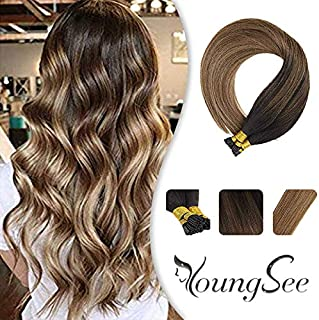 Youngsee 16inch 100% Real Itip Human Hair Extensions Balayage Darkest Brown Fading to Medium Brown with Caramel Blonde Fusion Hair Extensions I Tip Remy Human Hair 50Gram