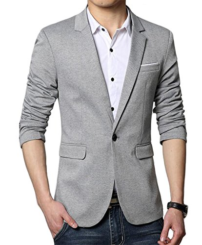Men's Premium Casual One Button Slim Fit Blazer Suit Jacket (3625 Grey, M)