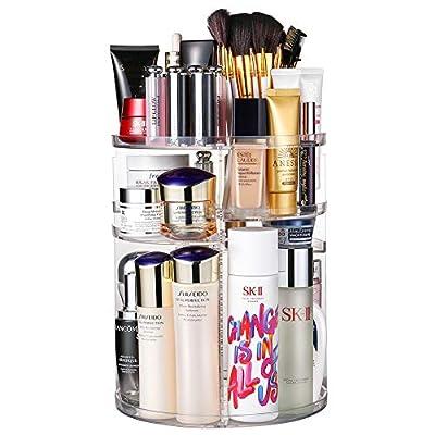 Jerrybox 360 Degree Rotation Makeup Organizer Adjustable Multi-Function Cosmetic Storage Box, Large Capacity, Fits Toner, Creams, Makeup Brushes, Lipsticks and More ¡