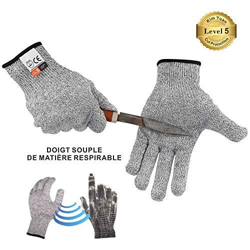 Kim Yuan Schnittfeste Sicherheit Handschuhe - high Performance Lebensmittelqualität Level 5 Schutz, für Oyster Shucking, Fisch Filet Verarbeitung, Mandoline zum Schneiden, Fleisch und Holz, Grau S