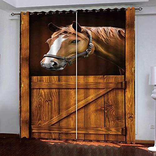 Empty thermo-verduisteringsgordijnen, geïsoleerd, paard, zacht, met ringen, 2 panelen x 117 cm x 229 cm