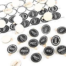 Logbuch-Verlag Set 24 Holzklammern runde Holzscheibe + 24 Aufkleber Merci Beaucoup Danke Dankeschön Geschenk Sticker schwarz weiß Natur Dankeskarte