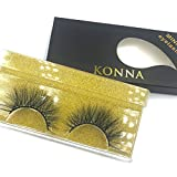 Konna 3D Mink False Eyelashes White Colored Handmade 1 Pair Eyelashes Kit with Tweezers and Glue-A