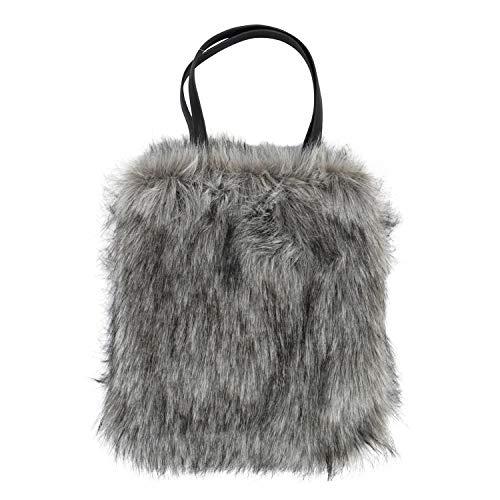 FineHome Felltasche Kunstfell Tasche Henkeltasche mit Innenfutter Anthrazit Fellimitat mit Innenfach Shopper-Bag Handtasche