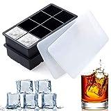 SLGOL Lot de 2bacs à glaçons en silicone flexibles et empilables avec couvercles en plastique sans bisphénolA pour 8gros glaçons carrés faciles à démouler pour whisky, cocktails et boissons mixtes