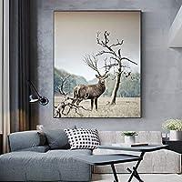 現代の動物のキャンバスの絵画鹿の写真絵画風景ポスターとリビングルームの装飾のためのプリント家の装飾70x100cmフレームレス