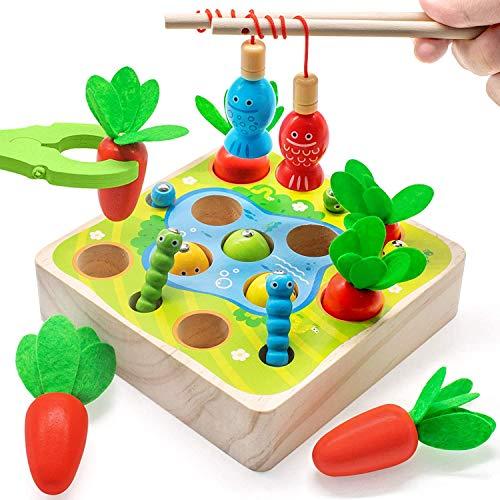 Goorder Holzspielzeug ab 1 2 3 4 Jahre, Montessori Spielzeug, Sortierspiel und Karottenernte, Motorik Spielzeug für Kinder, Lernspielzeug Geschenk für Jungen und Mädchen