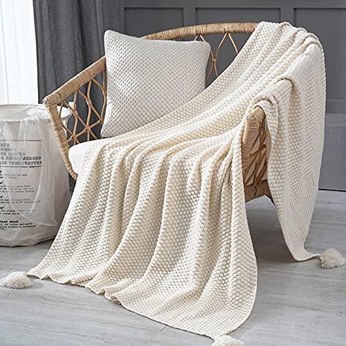 Delmkin Strickdecke, Handgemachte Gestrickte Decke mit Quaste, Kuscheldecke Schaldecke für Wohnzimmer/Büro (Weiß, 240 x 110cm)