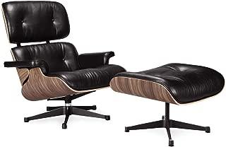 Decorific NYC Premium Replica Lounge Chair and Ottoman, Black - Mid Century Modern, Classic Recliner & Reading Chair (Walnut Wood, Italian Leather)