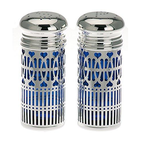 Unbekannt SILBERKANNE Salzstreuer und Pfefferstreuer mit hygenischen Blaufarbigen Einsatz H 9 cm Silber Plated versilbert
