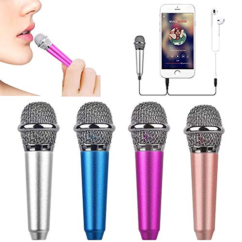 Mini Microphone,Tiny Microphone, Portable Microphone/Instrument Microphone for Man/Pet Voice Recording Shouting and Sing,with Mic Stand and Box (Rose Red)