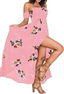 MK988 Women's Flower Print Split Short Sleeve Off The Shoulder Summer Beach Evening Party Maxi Dress