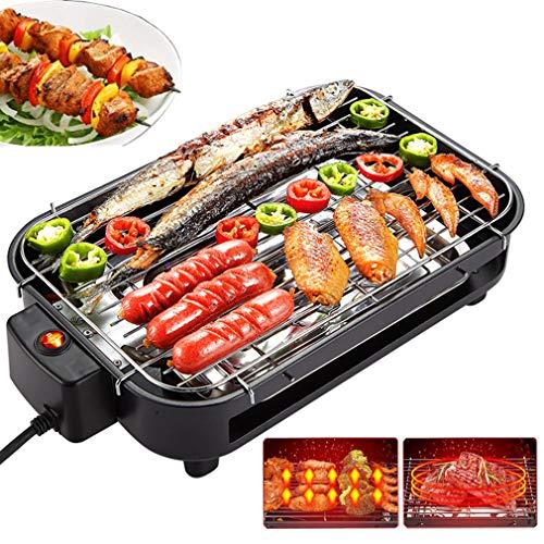 KOUQI Elektrische Smokeless BBQ, Bewegliche Stahlgrill Grill-Ofen Bräter, Indoor Grill Temperaturregelung, Wasser Gefüllte Auffangschale Reduzierter Geruch Rauch