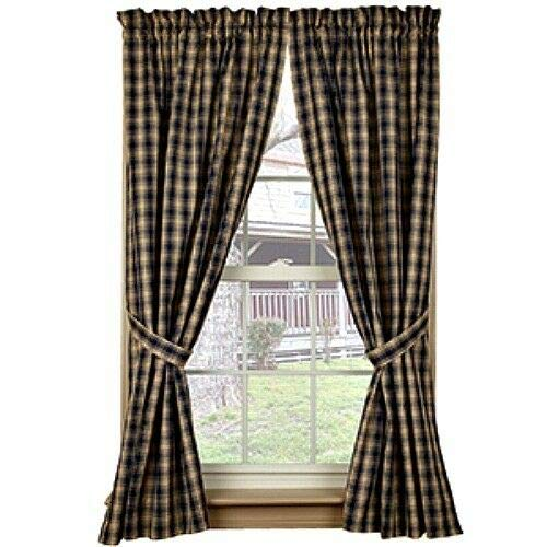 """TAKAZOON Curtains & Drapes Supplies for New Primitive Country Tan Navy Blue Plaid Panels Checked Drapes Curtains 63"""" for Window Decor, Home Decor"""
