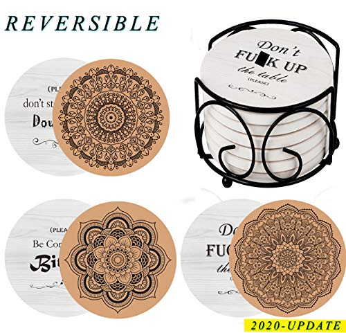 AerWo Coasters for Drinks Absorbent with Holder, 6 Pcs Reversible Funny Housewarming Gifts New Home for Hostess Gifts, Women, Man Coffee Table Decor