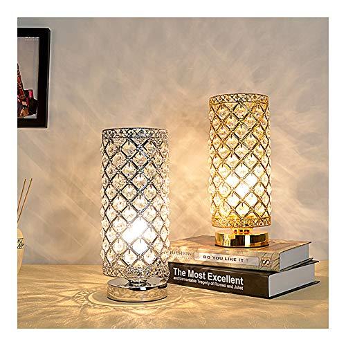 NQO - Lámpara de mesa/lámpara de escritorio para mesilla de noche, lámpara de lectura, lámpara de escritorio, lámpara de noche, lámpara de mesita de metal, cristal, color