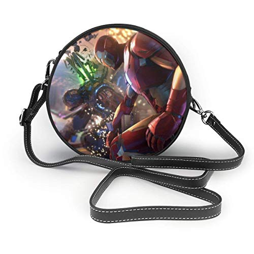 yusanbaihuodian Iron Man Leather Round Shoulder Bags Crossbody Chest Backpacks Ladies Crossbody Handbag Men and Women Leisure Travel Sling Bag