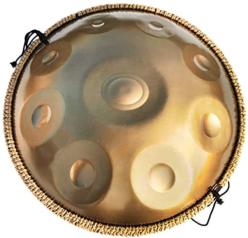 LLC- SUDA Happy Drums Acero, Handpan Drum Instrument, D Menor 9 Notas 22 Pulgadas Tambor de Mano de Acero con Bolsa Suave de Mano, 2 Manos, Soporte de Mano, Paño Libre de Polvo