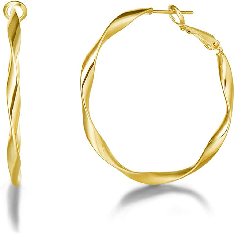 Fancime Big/Extra Large/Oval/Bamboo Hoop Earrings Teardrop Triple Round Twisted Piercing Hoop Earrings 14K Rose/Yellow/White Gold Plated High Polished Statement Jewelry for Women Tenn Girls,38/40/65mm