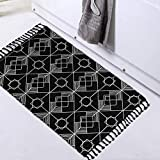 Boho Black Rug, Geometric Woven Bathroom Rug 2'x3' with Tassels, Small Bohemian Bath Mat