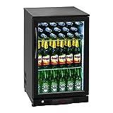 Royal Catering RCGK-108C Minibar Kühlschrank Getränkekühlschrank Flaschenkühlschrank mit Glastür (108 L, 2–10 °C, abschließbare Tür mit Doppelverglasung, LED Beleuchtung, Schwarz)