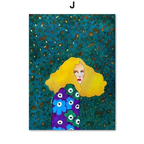 SDFSD Moderne Ölgemälde Mode Vintage Frau Make-up Schönheit Friseur Modell Wandkunst Leinwand Malerei Nordic Poster und Drucke Wandbilder für Wohnzimmer Dekor 55x95cm